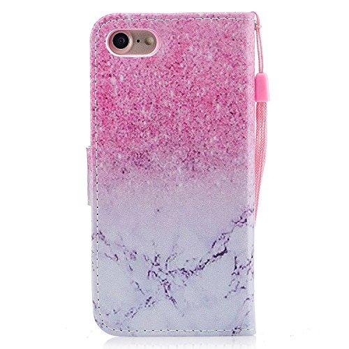 iPhone 8 Coque,Marbre rose Portefeuille Fermoir Magnétique Supporter Flip Téléphone Protection Housse Case Étui Pour Apple iPhone 8 + Deux cadeau