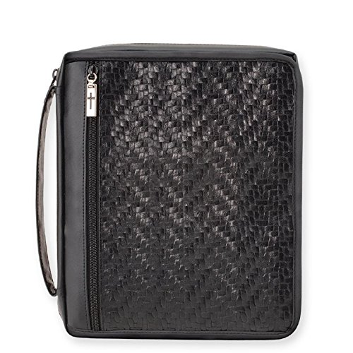 Enesco Faith & Grace by Gregg Gift Woven Black Leather-Look Organizer Bible Cover, 10""