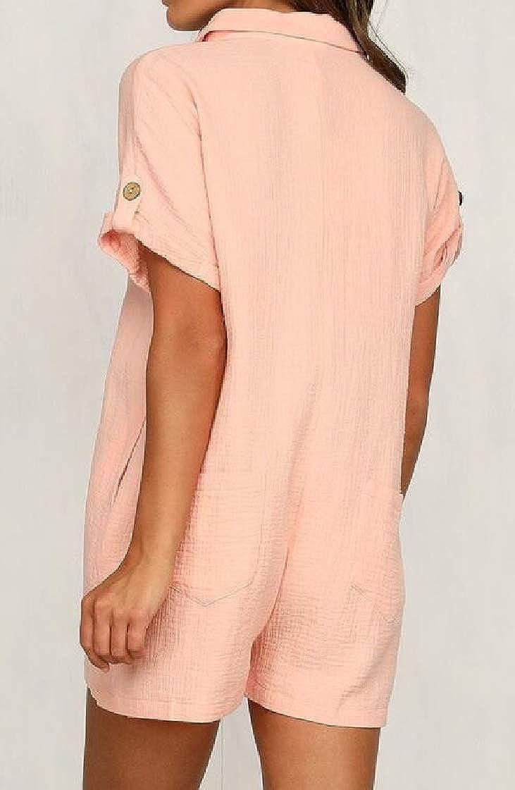 Etecredpow Womens Lapel Button-Down Shirt Short Sleeve Fashion Pocket Rompers