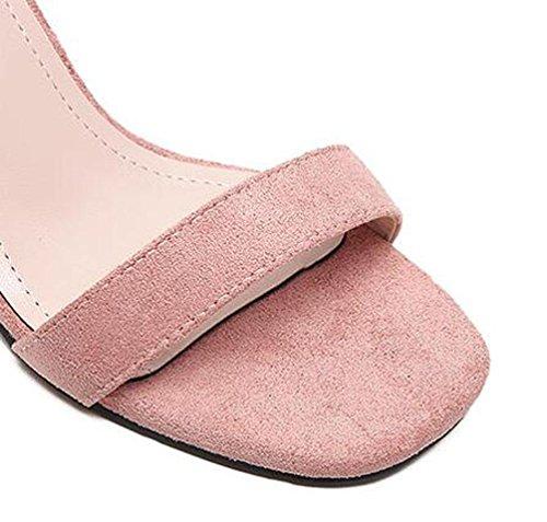 Heel Sandalias Abierto 6 simples Tobillo Tamaño estrecho Chunky Mid Toe 39 5 cm EU Casual Hebilla Scrub Pink Correas 35 Cinturón 4nBxqwC