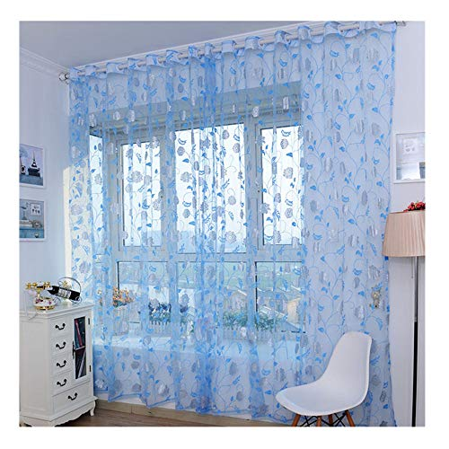 Bronzing Peony Pattern Sheer Curtains,Modern Smooth Floral Sheer Window Curtains for Dining Room,Living Room,Bedroom (D)