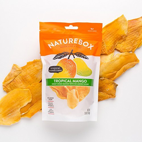 NatureBox Unsweetened & Unsulfured Non-GMO Dried Mangoes - Healthy Snacks - Vegan & Paleo Friendly (5 bags X 3.6 oz)