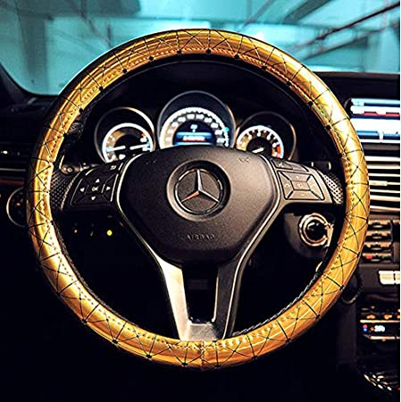 """baiou Universal Dazzling Colorful car Steering Wheel Covers Glossy 38cm//15/"""" PU Leather Automotive Steering Wheel Cover Automotive Interior Car Accessories Rose red"""