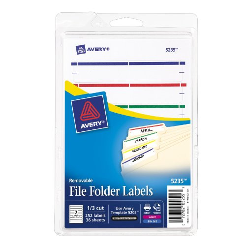 Avery Removable File Folder Labels, Assorted, 1/3 Cut, Pack of 252 (5235) ()