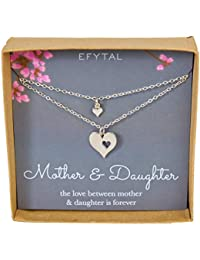 Mother Daughter Set for Two, Cutout Heart Necklaces, 2 Sterling Silver Necklaces
