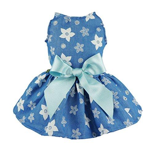 Fitwarm Stylish Floral Denim Dog Dress for Pet Clothes Vest Shirts Cat Apparel, Blue, XS