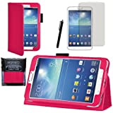 """MOFRED®Hot Pink Samsung Galaxy Tab 3 8"""" Case-MOFRED® Retail Packed Executive Multi Function Standby Case For Samsung Galaxy Tab 3 8.0 -8 inch Tablet + Screen Protector + Stylus Pen (Available in Mutiple Colors)"""
