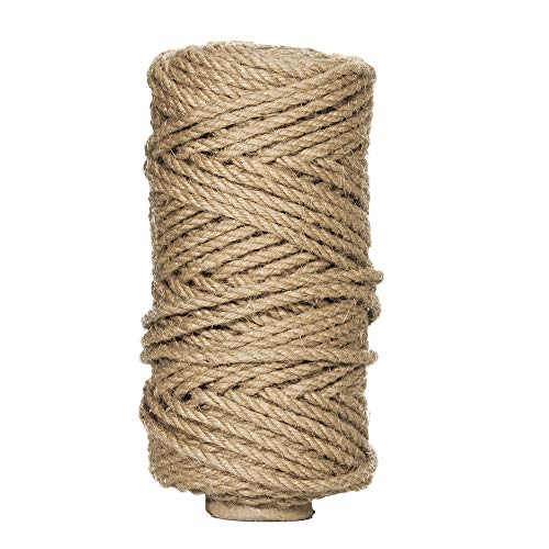 OxoxO (5MM x 50M Natural Strong Jute Twine Rope for Arts Crafts DIY Decoration Tags Present Wrapping Gift Packaging Bundling and ()