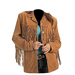 Classyak Women's Fashion Stylish Suede Leather Fringed Jacket