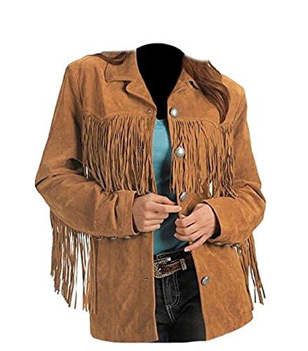 - Classyak Women's Fashion Stylish Suede Leather Fringed Jacket Brown XX-Large