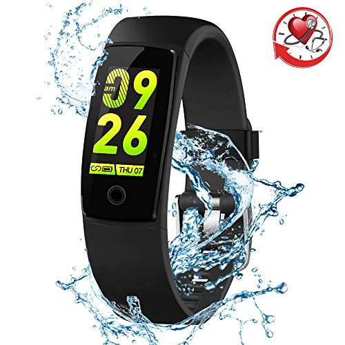 (Blood Pressure Watch Fitness Tracker RIVERSONG Waterproof Color Screen Sport Smart Bracelet Band Activity Monitor with Heart Rate Calories Pedometer Sleeping Tracking Call/SMS Reminder for Smartphones )