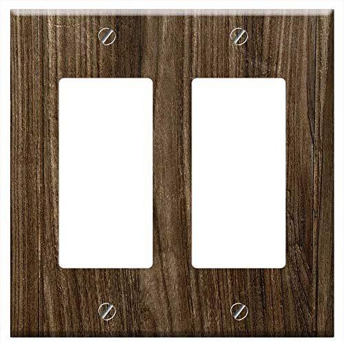 Switch Plate Double Rocker/GFCI - Pattern Fabric Wood Desktop Hardwood Backgrounds