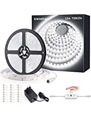12M Tiras LED Regulables 24V, Ustellar 720 LEDs Clips 3600lm, Tira LED Luz Blanco Frío 6000K, LED Mano Sensor Movimiento Enchufe, Decoración Iluminación Ambiental para Gabinete, Armario