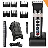 Pro Electric Hair Clippers For Men, Best Hair Trimmer Quiet Cordless For Boy&Kids, Personal Ceramic Hair Cutting Cape Gift Set With Guards, Household USB Wireless LED Display Rechargeable Haircut Kit