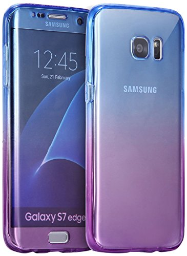 AMASELL SWEET-429 Samsung Galaxy S7 Edge Case, Full Body 360 Coverage Protective, Scratch Resistant Crystal Soft Tpu Silicone Rubber Cover - Blue Purple