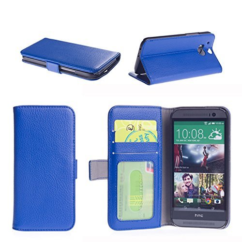 NOSWear (Slim Fit Series) Black HTC One M8 PU Leather WALLET Case - 3 Credit Card Slots with Magnatic Strap for Secure Close and Premium Interior Fibre - Stand Position for the Face Time our Watching Movies (Blue) (Htc One M8 Wallet Case Strap)
