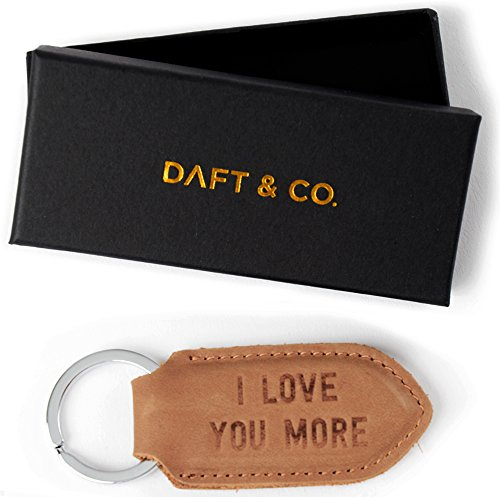 Daft & Co. Premium Genuine Leather Keychain & Gift I Love You More (Tan S) (Leather Keychain Small)