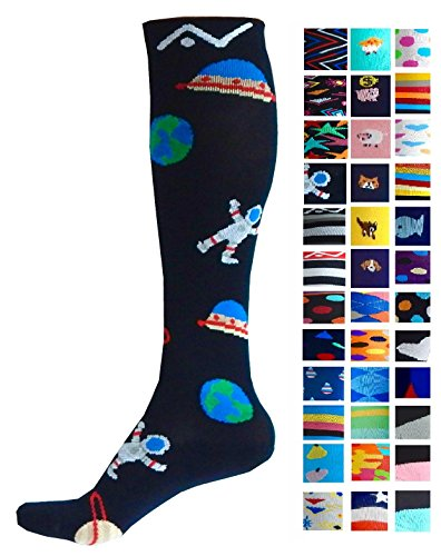 Compression Socks (1 pair) for Women & Men by A-Swift - Graduated Athletic Fit for Running, Nurses, Flight Travel, Skiing & Maternity Pregnancy - Boost Stamina & Recovery (Space, L/XL) - 20 Space Equipment