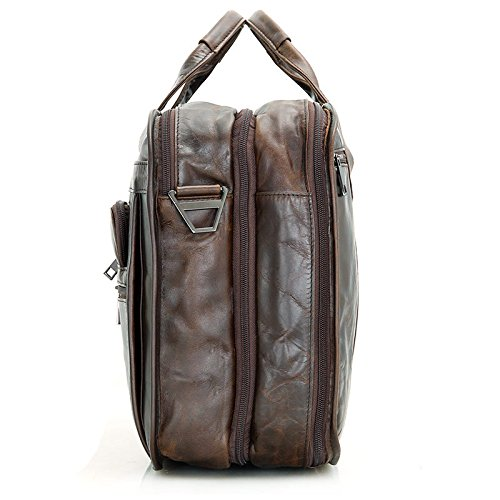 MUMUWU Men's Briefcase Leather Tote Bag Crossbody Bag Business Bag Leather Men's Bag Men's Briefcase Backpack (Color : Brown, Size : L) by MUMUWU (Image #3)