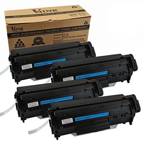 V4INK 4-Pack Q2612A Toner Cartridge For 12A Q2612A Toner Cartridge HP Laserjet Printer 1010 1012 1015 1018 1020 1022 1022n 1022nw 3015 M1005 M1319F - Black ¡