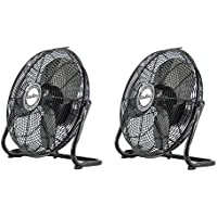 Air King 12 1/25 HP 3-Speed Industrial Open Motor Pivoting Floor Fan (2 Pack)