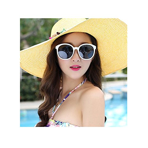 f2af0346015 Amazon.com  WKING 2018 Hot women big brim sun hats foldable colorful stone  hand made straw hat female summer hat casual shad  Sports   Outdoors