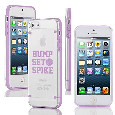 Apple iPhone 5 5s Ultra Thin Transparent Clear Hard TPU Case Cover Bump Set Spike Volleyball (Iphone 5 Cases Spike)
