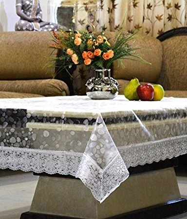 Pindia 6 Seater 60 x 90 INCH Silver Border 3D Self Design Transparent Waterproof Table Cover Sheet Mat PVC plastic Dining Ractangle