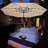 Yescom 13ft Patio Umbrella w/ 48 LEDs Outdoor Market Beach Garden 8 Ribs Cover Top Canopy Sunshade