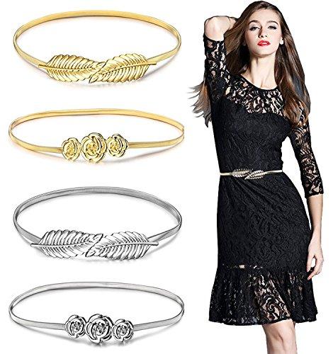 Belts for Women,Gellwhu 4pcs Women's Metal Leaf Stretchy Elastic Belts Dress (Silver Floral Belt)