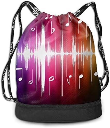 GymSack Drawstring Bag Sackpack Purple Musical Notes Sport Cinch Pack Simple Bundle Pocke Backpack For Men Women