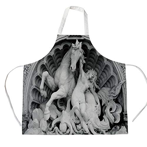 Sculptures Decor 3D Printed Cotton Linen Apron,A Struggling Nymph with Octopus Seashell Horse in a Lunette Sculpture Art in Bologna,for Cooking Baking Gardening,Grey -