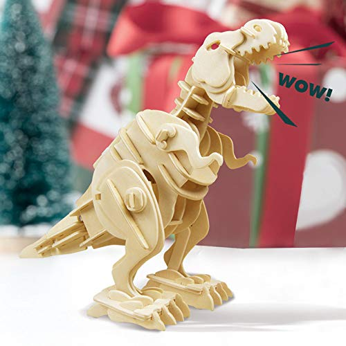 ROBOTIME Walking Trex Dinosaur 3D Wooden Craft Kit Puzzle for Kids,Sound Control Robot T-Rex Model Kits for 7 8 9 10 11 12 Year Old Boys