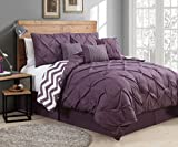 Grey and Plum Bedding Sets Avondale Manor 7-Piece Venice Pinch Pleat Comforter Set, Queen, Plum