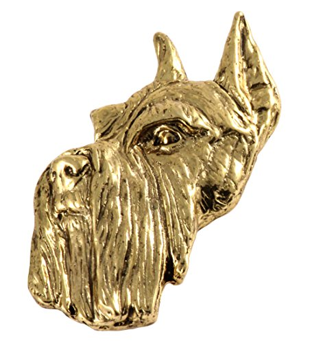 Creative Pewter Designs Schnauzer Dog 22k Gold Plated Lapel Pin, Brooch, Jewelry, ()