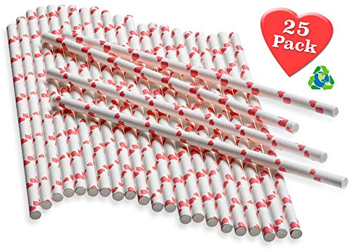 Paper Straws with Tiny Red Hearts – 25 pack – Biodegradable & Sturdy - Love your guests, family, yourself and the environment by using Heart-patterned Paper Straws!