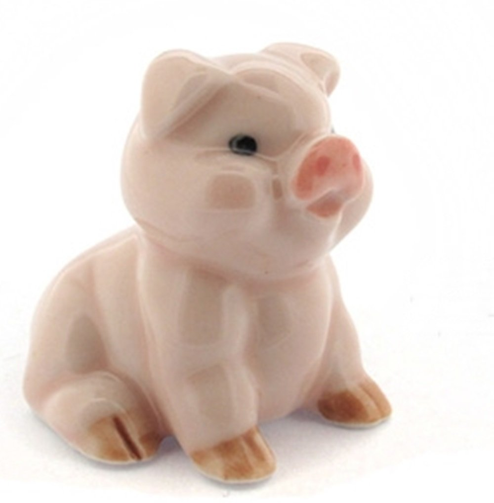 Dollhouse Miniatures Ceramic Pig 1 FIGURINE Animals Decor by ChangThai Design