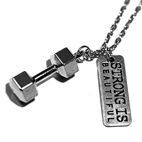 The Original Strong Is Beautiful Necklace By Santa Monica Charm Co. With Dumbbell Pendant Monica Charm