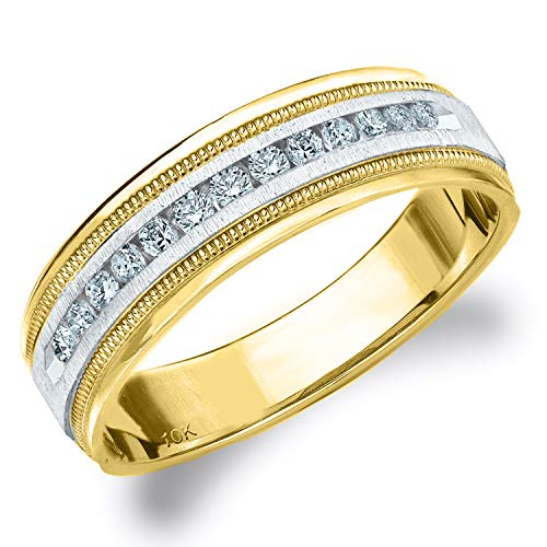 .25CT Heritage Men's Diamond Ring in 10K Two Tone Gold Satin Finish - Finger Size 11.25 (Two Tiffany Tone Ring)