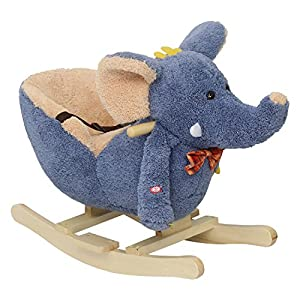 Peach Tree Baby Kids Plush Wooden Rocking Horse Elephant Theme Style Riding Rocker with Realistic Sounds