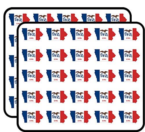 Iowa Shaped Iowa Flag (State) Sticker for Scrapbooking, Calendars, Arts, Kids DIY Crafts, Album, Bullet Journals ()