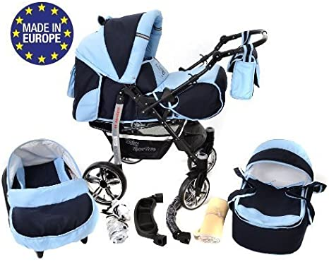 Car Seat Kamil Pushchair /& Accessories 3-in-1 Travel System, Black /& Turquise Classic 3-in-1 Travel System with 4 STATIC WHEELS incl Baby Pram FIXED