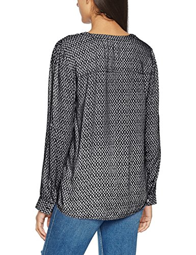 Tom Tailor Lovely Print Blouse, Blusa para Mujer Azul (Real Navy Blue)