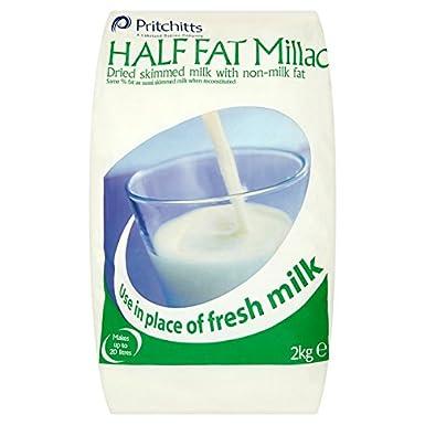 Millac La mitad de grasa leche desnatada en polvo con grasa no Leche - 1 x 2 kg: Amazon.es: Alimentación y bebidas