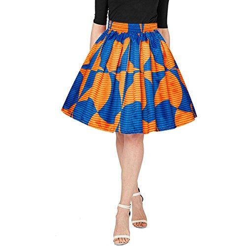 Printed Short Skirt - Adela Boutique Women's African Print High Waist A-Line Mini Skirt Fashion Wide Loose Fitting Short Skirt (Blue XL)