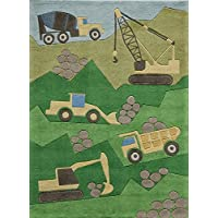 Momeni Rugs LMOJULMJ24GRN2030 Lil Mo Whimsy Collection, Kids Themed Hand Carved & Tufted Area Rug, 2 x 3, Green