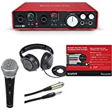 Focusrite Scarlett 6i6 (2ND GEN) 6 In/6 Out USB 2.0 Audio Interface Bundle with Dynamic Handheld Mic, Mount, XLR Cable and Studio Headphones