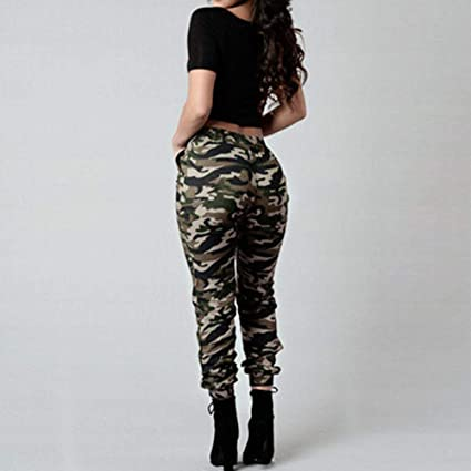 7c2e8aa3722bd Image Unavailable. Image not available for. Color: MTOFAGF Women High Waist  Military Camouflage Army Green Casual Loose Pants Trousers ...