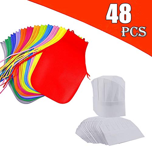 AIVS 48 Pieces Children's Artists Fabric Aprons & Chef Hats for Kitchen, Classroom, Community Event, Crafts and Art Painting Activity,Kid's Size(M 2-12 Year)