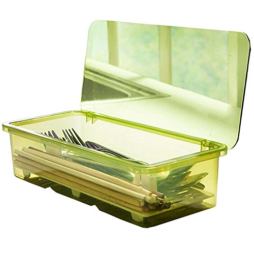 AIYoo Flatware Tray Kitchen Drawer Organizer With Lid And Drainer - Plastic Kitchen Cutlery Tray and Utensil Storage Container with Cover - Dust-proof Dinnerware Holder - Flatware Green Storage